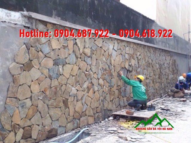 thi công đá rối ốp tường