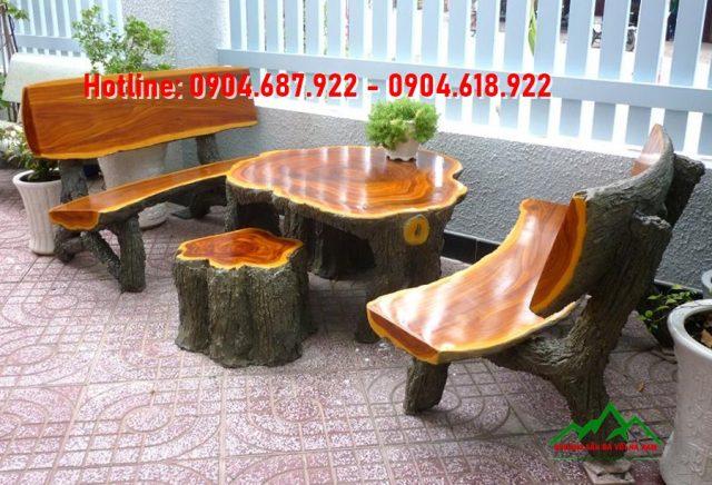 Bột màu oxit sắt làm bàn ghế đá