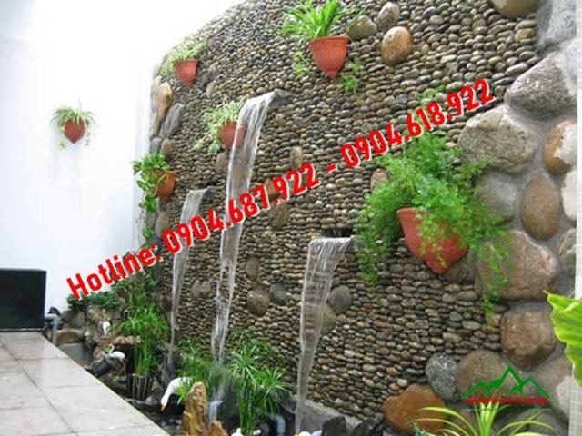 đá cuội trang trí tường