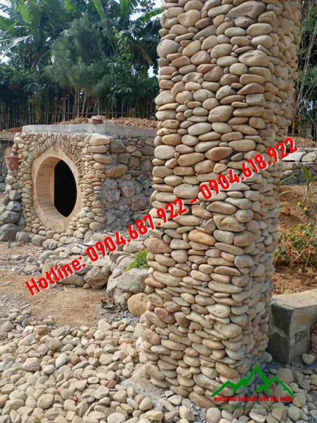 đá cuội ốp tường